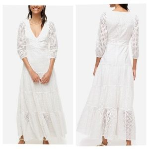 J.CREW Tiered Maxi Dress in White Mixed Eyelet